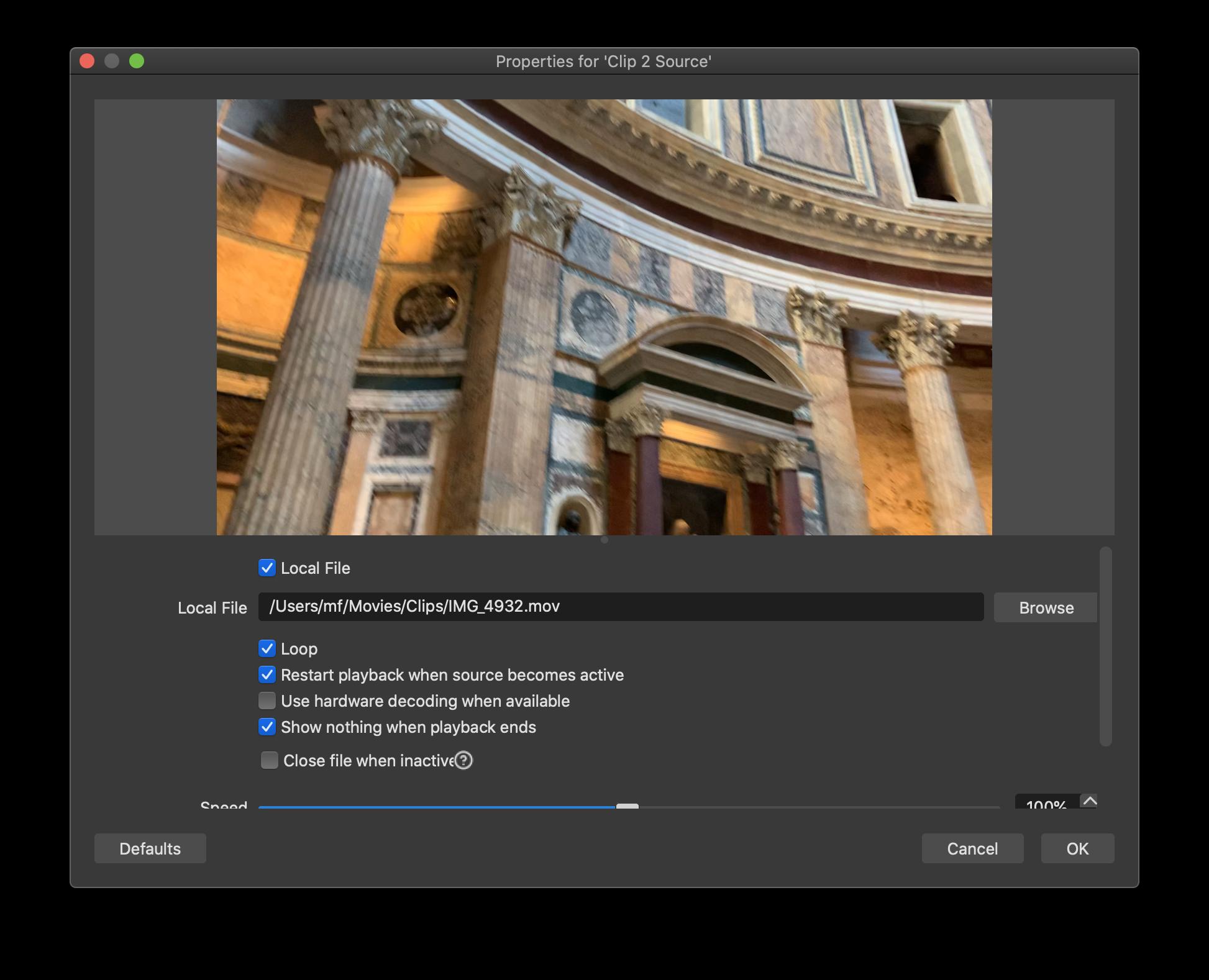 Video clip settings