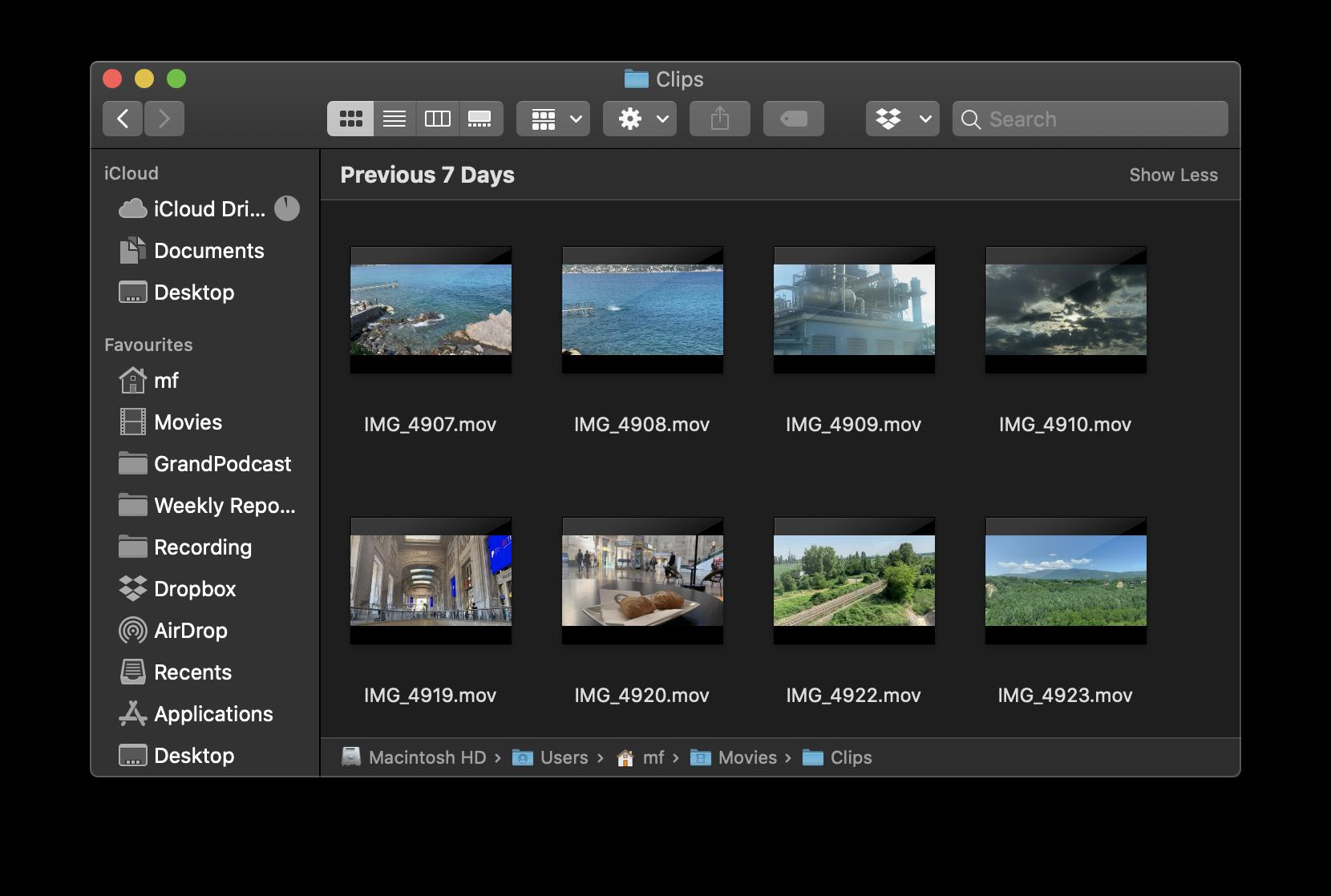 """Folder of short video clips - """"B Roll"""" footage"""